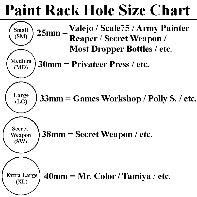 Real Wood Paint Rack Hole Size Chart Gypsee Games